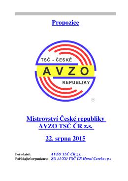 Propozice Mistrovství České republiky AVZO TSČ ČR z.s. 22. srpna