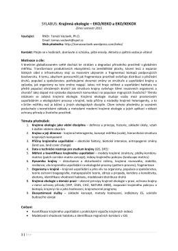 SYLABUS: Krajinná ekologie – EKO/KEKO a EKO