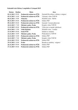 Kalendář akcí Heleny Langšádlové Listopad 2015 Datum