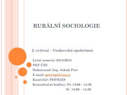 RURÁLNÍ SOCIOLOGIE