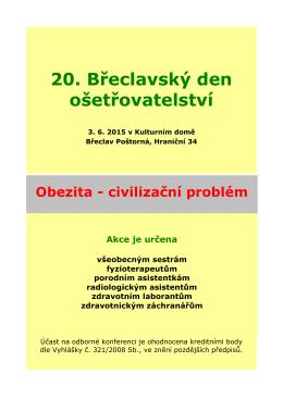 Pozvánka na 20. Břeclavský den ošetřovatelství