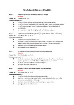 tématy bakalářských prací