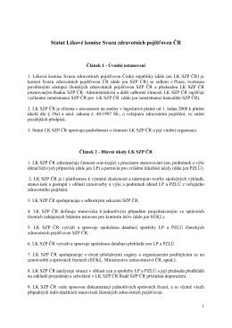 Statut lékové komise Svazu zdravotních pojišťoven ČR