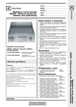 900XP - Grilovací desky, EL, 800mm, bez podestavby