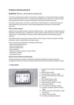 Praktikum školních pokusů III ÚLOHA 6a: Pokusy s ultrazvukovou