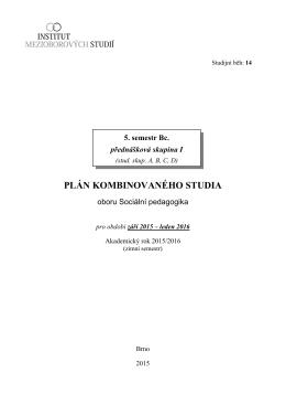 PLÁN KOMBINOVANÉHO STUDIA