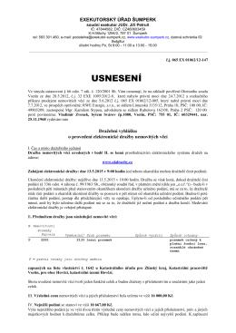 Dražební vyhláška 1 - Exekutorský úřad Šumperk