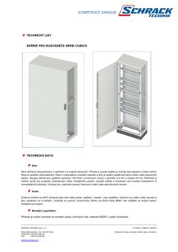 technický list skříně pro rozváděče série cubico technická