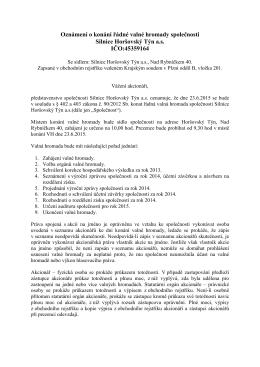 14. 5. 2015 Oznámení o konání řádné valné hromady společnosti