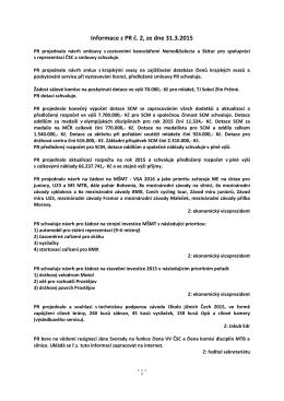 Informace z PR č. 2, ze dne 31.3.2015