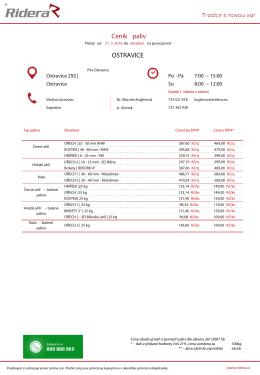 Ceník paliv OSTRAVICE