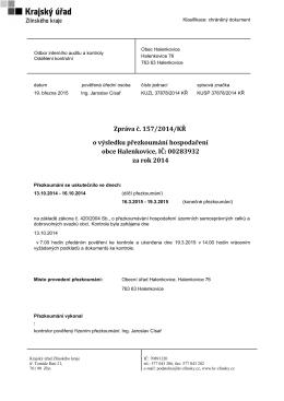 Zpráva o výsledku přezkoumání hospodaření obce Halenkovice.