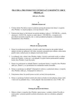 pravidla pro poskytování dotací z rozpočtu obce předslav