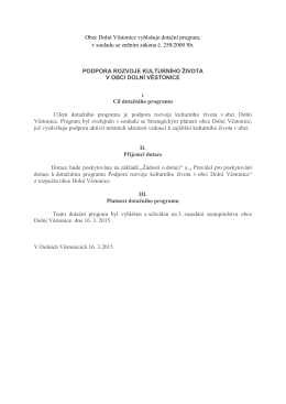 Obec Dolní Věstonice vyhlašuje dotační program, v souladu se