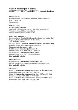 Seznam učebnic pro 4. ročník ZDRAVOTNICKÝ ASISTENT