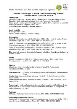 Seznam učebnic pro 2. ročník , obor zdravotnický asistent – večerní