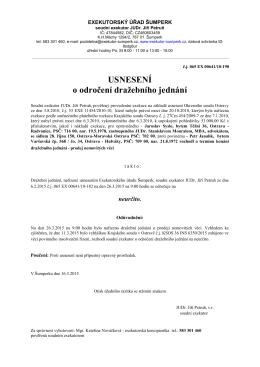 Dražební vyhláška 2 - Exekutorský úřad Šumperk