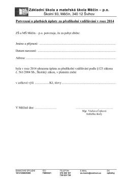 Potvrzení o platbách úplaty za předškolní vzdělávání v roce 2014