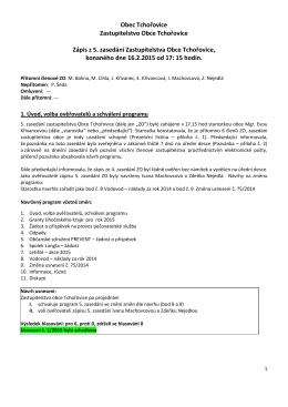 Zápis z 5. zasedání ZO Tchořovice