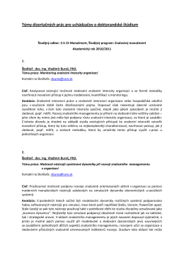 Témy dizertačných prác pre uchádzačov o doktorandské štúdium