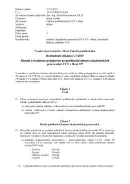 Rozhodnutí děkana č. 5/2015 Rozsah a struktura požadavků na