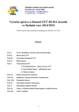 Výroční zpráva o činnosti DDM Jeseník
