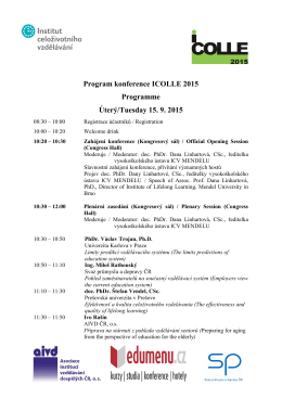 Program konference ICOLLE 2015 Programme Úterý/Tuesday 15. 9
