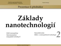 Základy nanotechnologií 2 - Univerzita Palackého v Olomouci