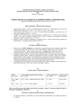 Vnitřní směrnice pro příspěvek na dojíždění