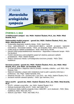 ČTVRTEK 5. 3. 2015 - Urologie pro praxi