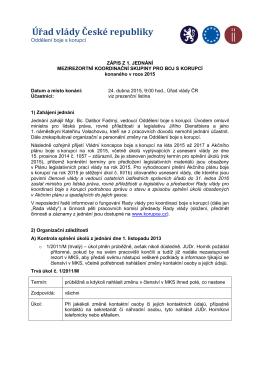 Zápis z jednání MKS pro boj s korupcí ze dne 24. dubna 2015