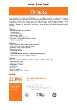 Junior Účetní - Jaroslav Zelinka