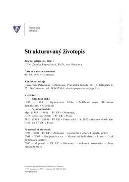 Strukturovaný životopis - Univerzita Palackého v Olomouci