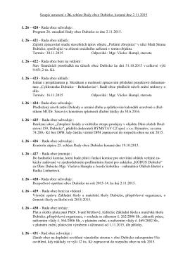 Soupis usnesení 26. Rady obce Dubicko