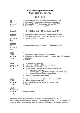 Plán činnosti představenstva SBaP 2015