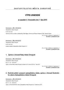 Usnesení Zastupitelstva města Chropyně ze dne 1. října 2015