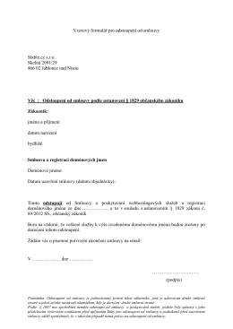 Vzorový formulář pro odstoupení od smlouvy Stable.cz s.r.o. Skelná