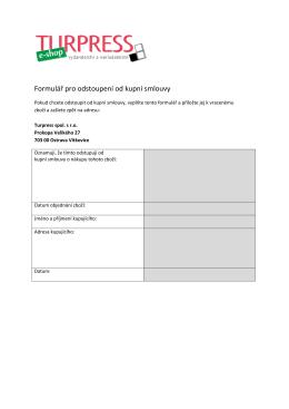 Formulář pro odstoupení od kupní smlouvy - E-SHOP