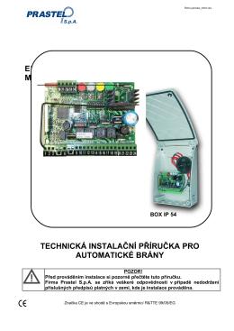 Technická instalační příručka pro automatické brány Divo