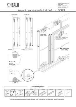 kování pro vestavěné skříně - S50N
