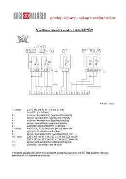 Specifikace přívodů k svorkové skříni