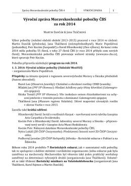 Výroční zpráva Moravskoslezské pobočky ČBS za rok 2014