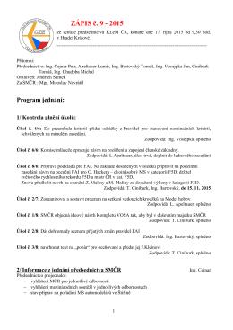 ZÁPIS č. 9 - 2015 - Svaz modelářů ČR