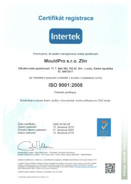 ISO 9001 - MouldPro sro Zlín