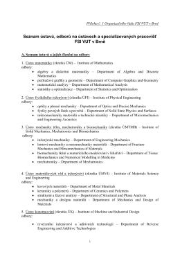Seznam ústavů, odborů na ústavech a spec. pracovišť FSI