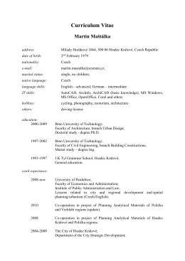Curriculum Vitae - Regionální rozvoj mezi teorií a praxí