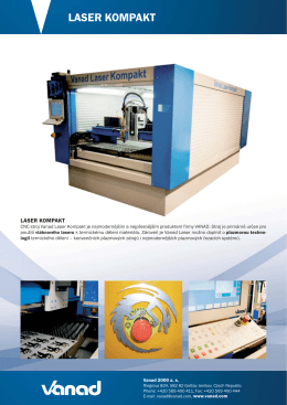 CNC laserový řezací stroj Vanad Laser KOMPAKT