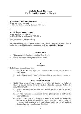 Zakládací listina Nadačního fondu Uran