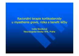 Racionální terapie kortikosteroidy u myasthenia gravis, rizika a