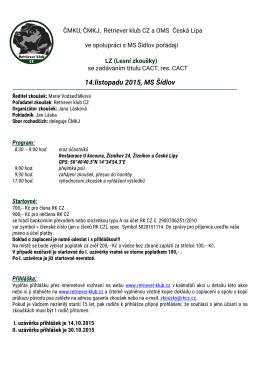 Propozice KLZ 14.11.2015 Česká Lípa